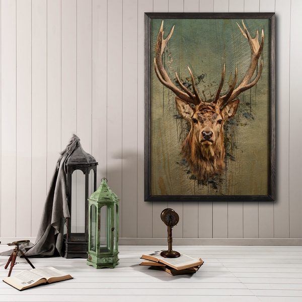 Stag Face Multicolor Decorative Framed Wooden Painting