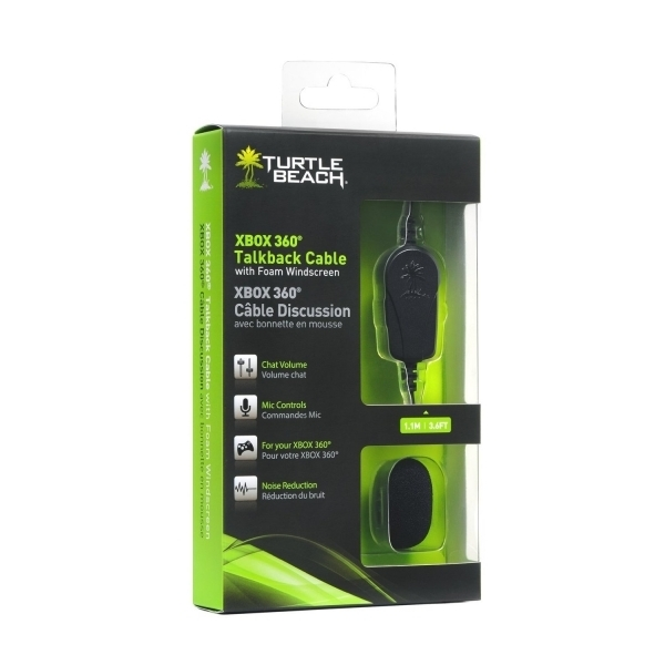 Turtle Beach Official Talkback Cable with Mic Wind Screen Xbox 360