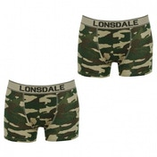 Lonsdale 2 Pack Mens Trunk Boxer Shorts Green Camo Medium
