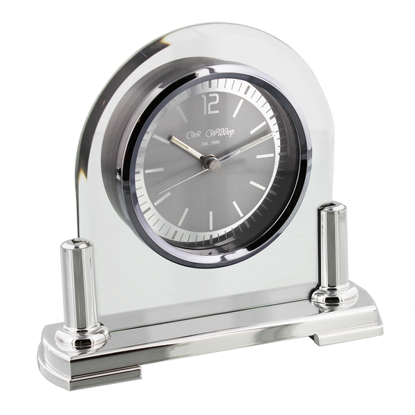 WILLIAM WIDDOP Arched Glass Mantel Clock with Metal Frame