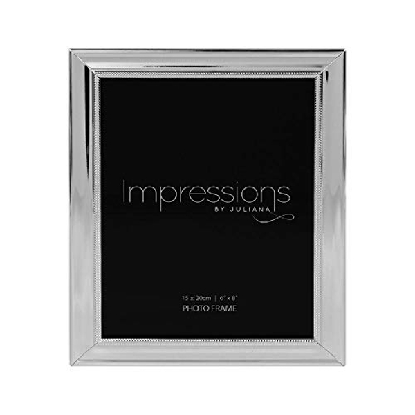 """6"""" x 8"""" - IMPRESSIONS? Silver Plated Frame with Beaded Edge"""