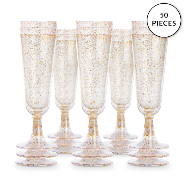 Plastic Champagne Flutes - Set of 50 | Pukkr Gold