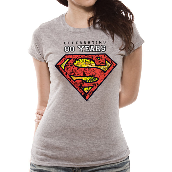 Superman - Celebrating 80 Years Women's X-Large T-Shirt - Grey