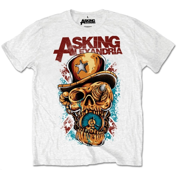 Asking Alexandria - Stop The Time Unisex Small T-Shirt - White