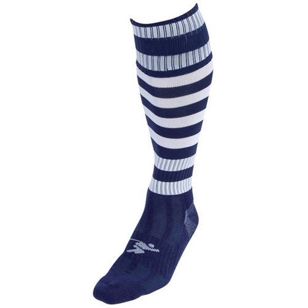 Precision Navy/White Hooped Pro Football Socks Adult - UK 7-11