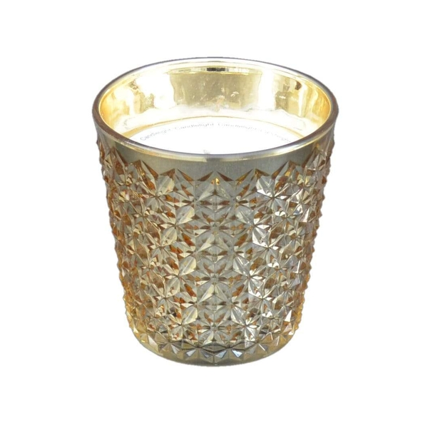 Embossed Gold Glass Wax Filled Pot Candle Prosecco Scent 350g