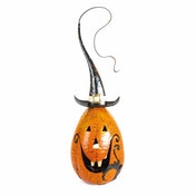 Metal Pumpkin Candle Holder with Tall Hat by Heaven Sends