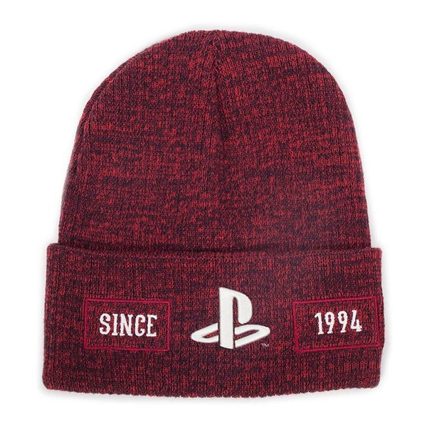 Sony - Playstation Biker Logo Roll-up Unisex Beanie (Red)