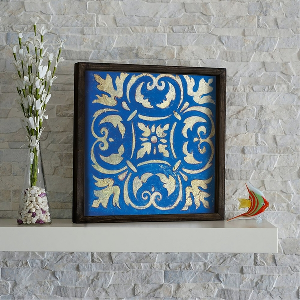 KZM618 Brown Blue Yellow Decorative Framed MDF Painting