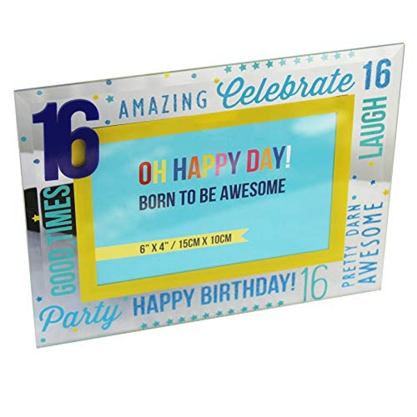 "6"" x 4"" - Oh Happy Day! Glass Photo Frame - Blue 16"