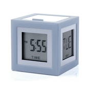 Cubissimo Grey LCD Alarm Clock by Theo Williams