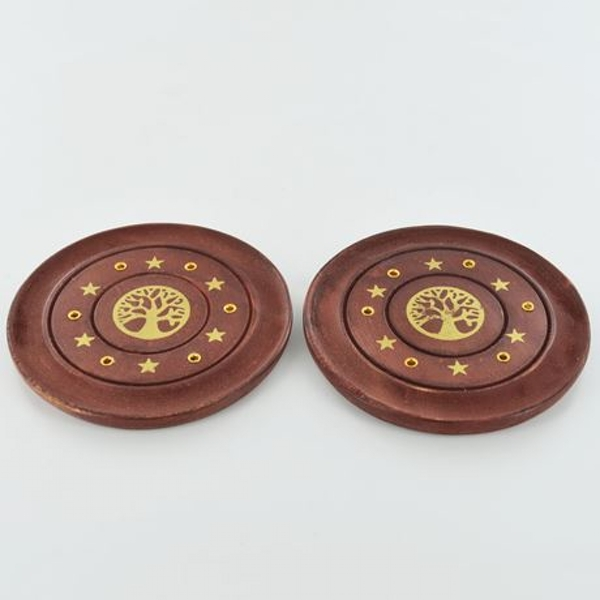 Tree of Life Brass Inlay Incense Plate 10cm