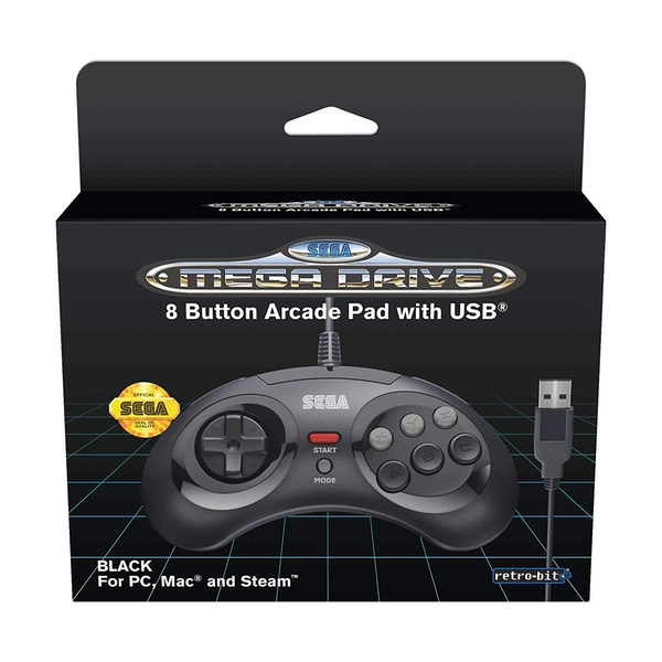 Black 8-Button Retro-Bit Mega Drive Controller