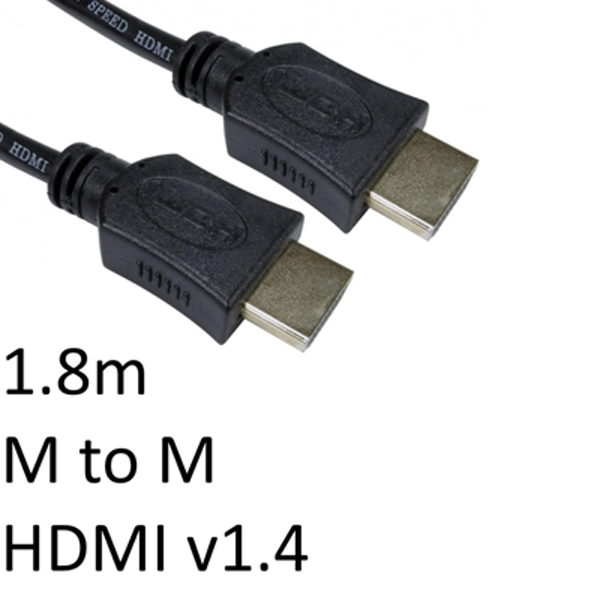 Image of HDMI 1.4 (M) to HDMI 1.4 (M) 1.8m Black OEM Display Cable