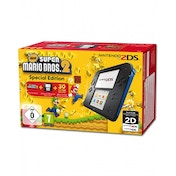 Nintendo 2DS Handheld Console Black & Blue UK Plug with New Super Mario Bros 2
