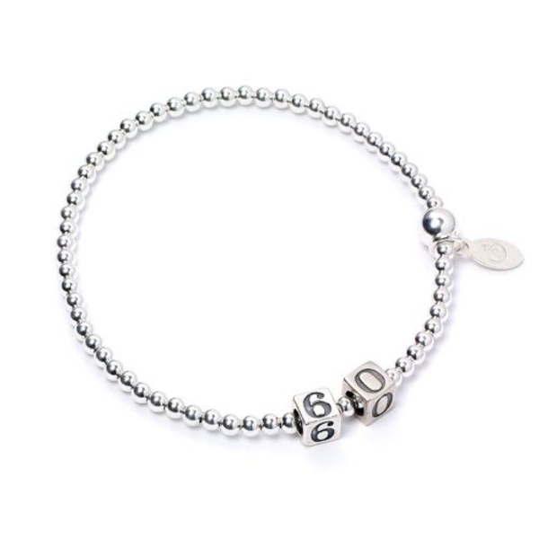 60 Number Cubes with Sterling Silver Ball Bead Bracelet
