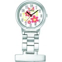 Lorus Nurses Fob Watch Silver with Flower Pattern Dial