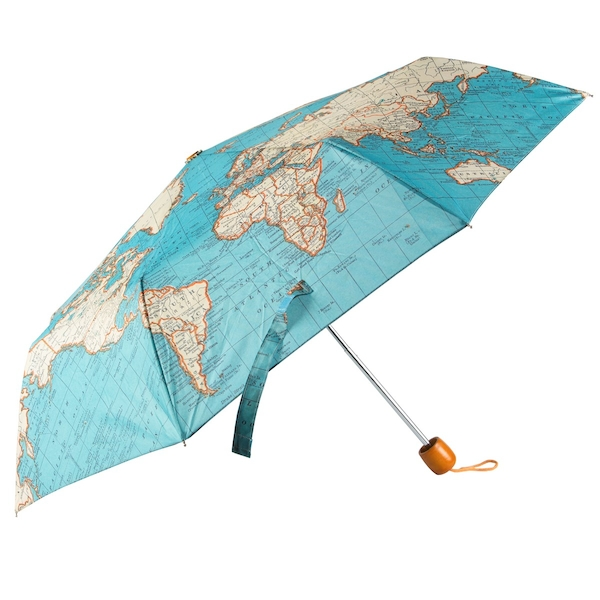 Sass & Belle Vintage Map Folding Umbrella