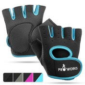 Proworks Women's Padded Grip Fingerless Gym Gloves Blue - Medium