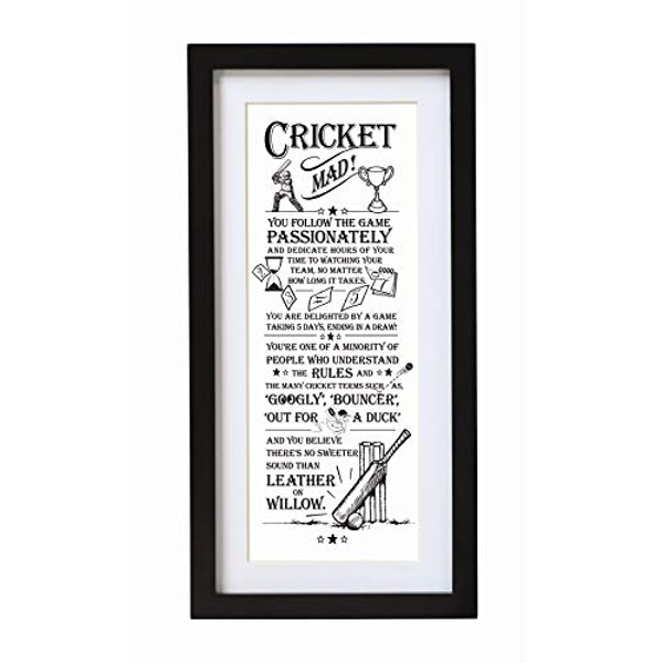 Arora The Ultimate Gift for Man Printed Word Poster-Black Wooden Framed Wall Art Picture-Cricket Mad, Multicolour, One Size