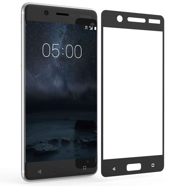 Nokia 5 Tempered Glass Screen Protector - Black Edge - Image 1
