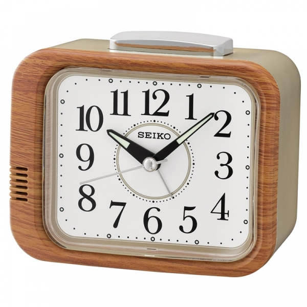 Seiko QHK046B Bell Alarm Clock with Sweep Second Hand Wood Finish