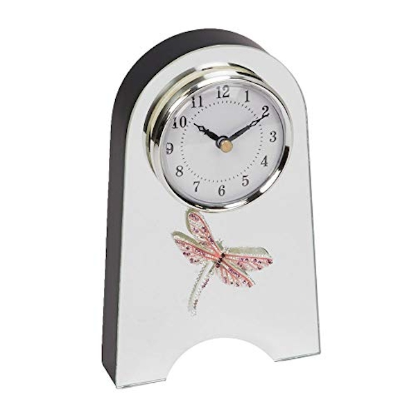 Sophia Pink Crystal Dragonfly Glass Mantel Clock