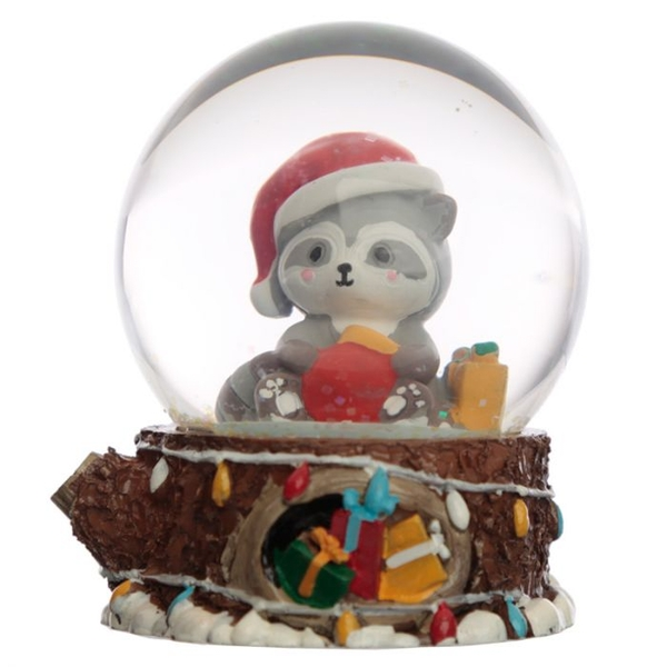 Christmas Racoon Waterball Snow Globe