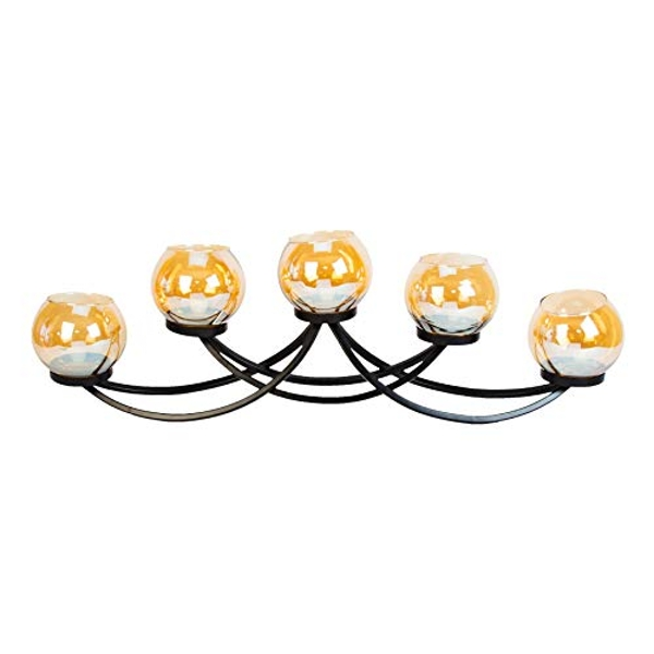 HESTIA? Black Metal Candle Holder 5 Gold Glass Cups