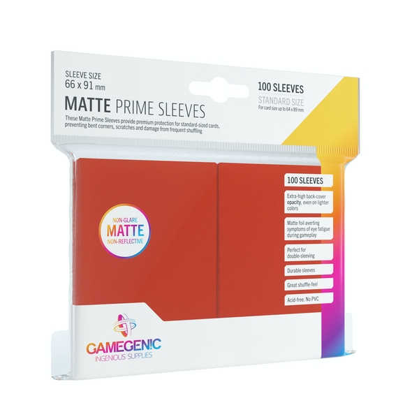 Gamegenic Matte Prime Red - 100 Sleeves