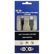 Maxam USB 3.0 A (M) to USB 3.1 C (M) 1m Black Retail Packaged Data Cable