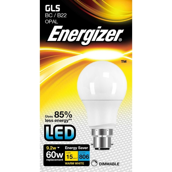 Energizer LED GLS 806lm B22 Warm White BC 9.2w