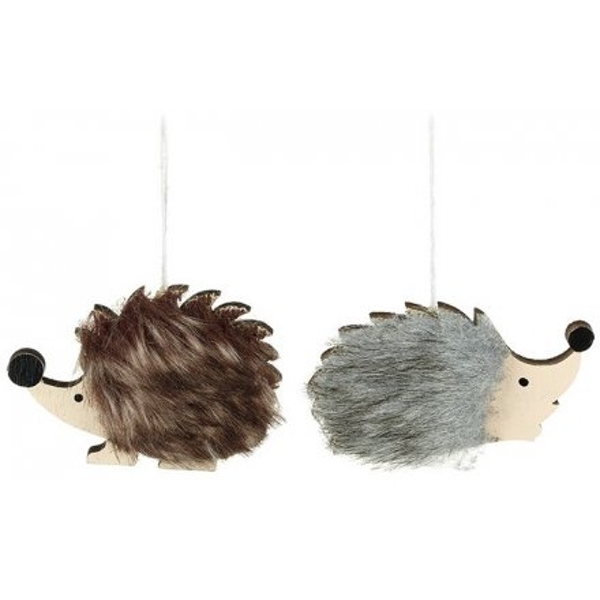 Assorted Hanging Faux Fur Hedgehogs (1 Random Supplied)
