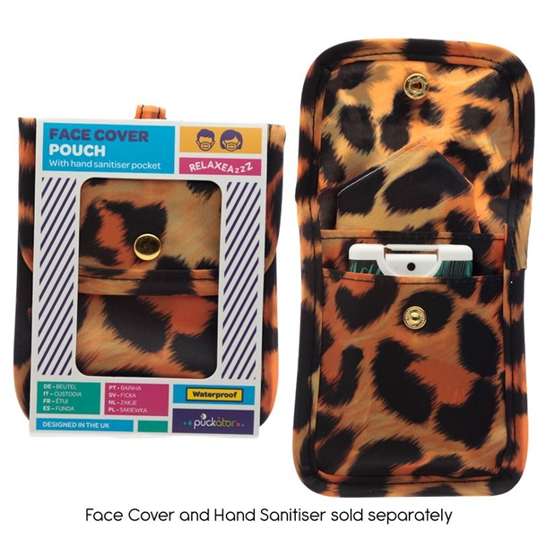 Animal Print Leopard Print Face Covering & Hand Sanitiser Pouch
