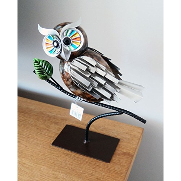 Country Living Hand Painted Metal Owl on Branch 26cm