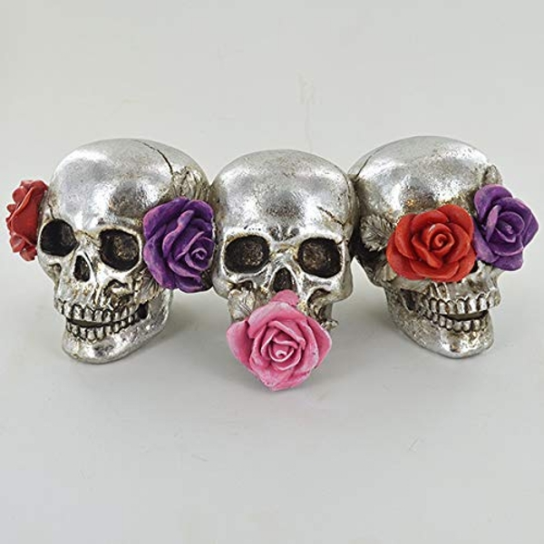 Silver Skull with Roses (Set of 3)