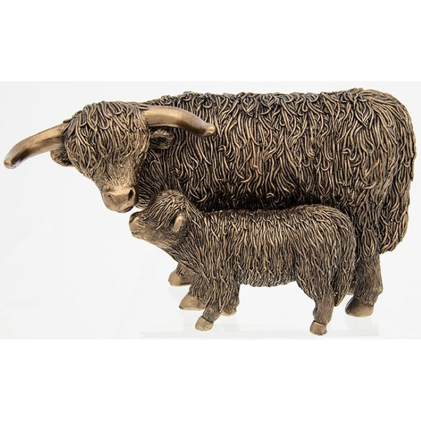 Bronze Highland Coo & Calf Large Ornament