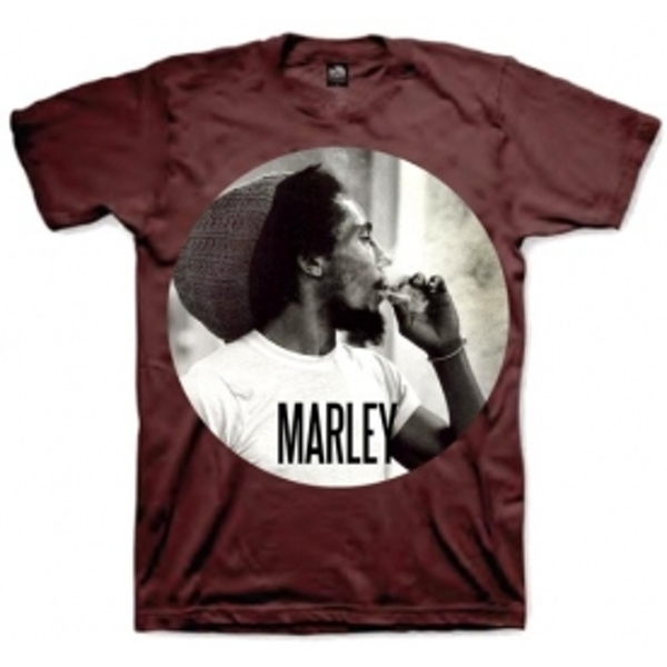 Bob Marley Smokin Circle Mens T Shirt: Burgundy Large