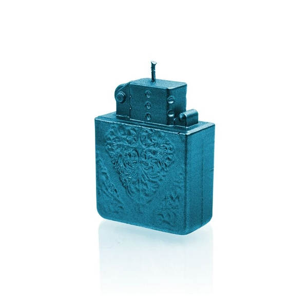 Blue Metallic Lighter Candle
