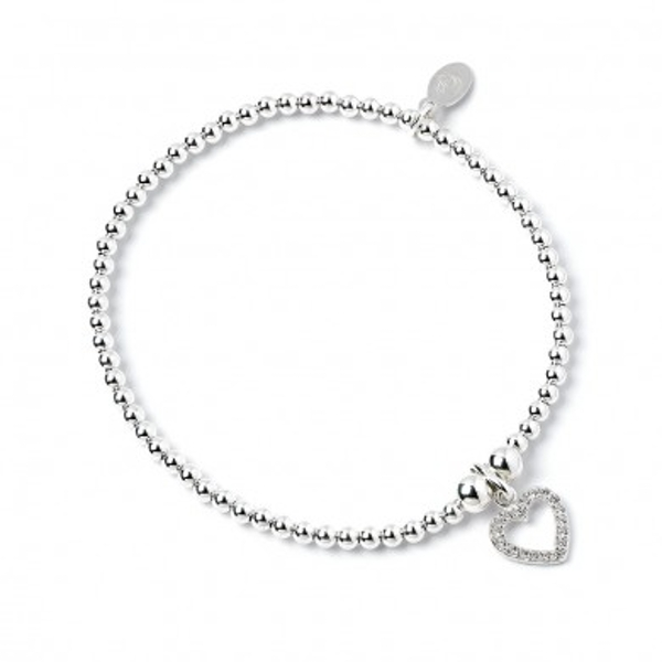 Crystal Heart Charm with Sterling Silver Ball Bead Bracelet