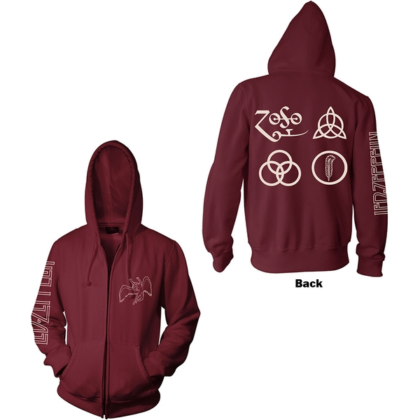 Led Zeppelin - Symbols Unisex Large Hoodie - Red