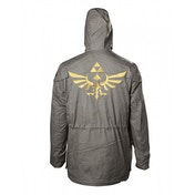 Nintendo Legend of Zelda Men's Golden Hyrule Royal Crest Large Parka Jacket with Hood - Military Green