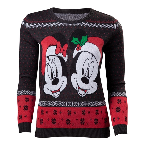Disney - Mickey & Minnie Christmas Women's Small Sweater - Dark Grey/Red