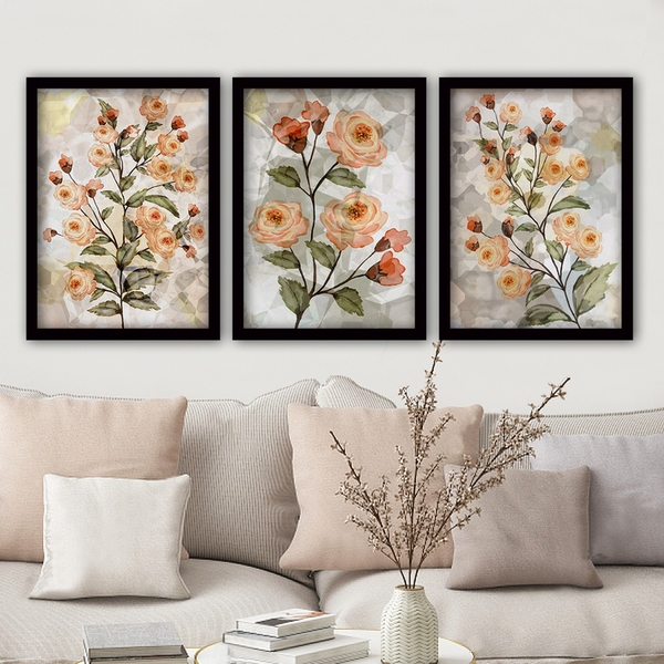 3SC65 Multicolor Decorative Framed Painting (3 Pieces)
