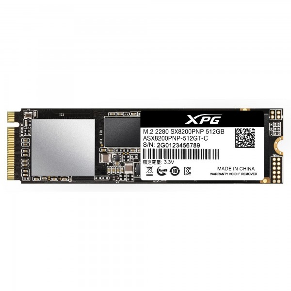 ADATA 512GB XPG SX8200 PRO M.2 NVMe SSD, M.2 2280, PCIe, 3D NAND, R/W 3500/2300 MB/s