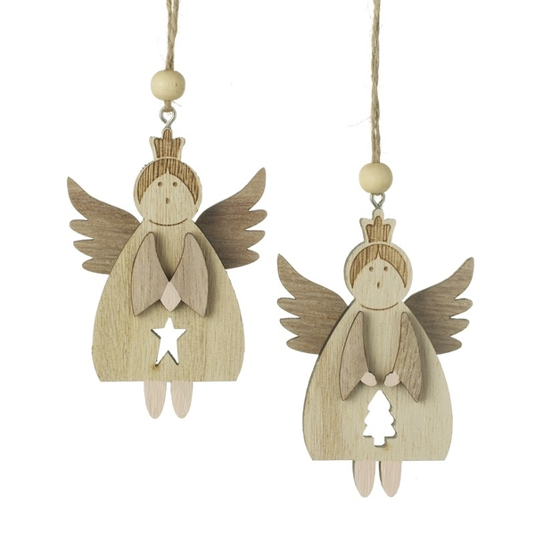 Hanging Wooden Angel Decoration (Set of 2) By Heaven Sends