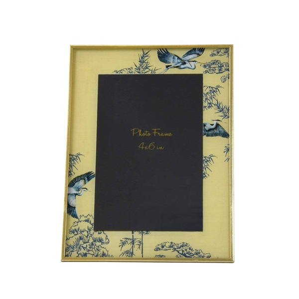 """Glass Photo Frame in Oriental Heron Design with Bevelled Edge 4"""" x 6"""""""