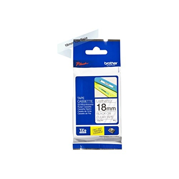 Brother TZe-141 Labelling Tape Cassette, 18 mm (W) x 8 m (L), Laminated, Brother Genuine Supplies - Black on Clear