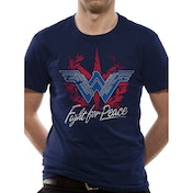 Wonder Woman Movie - Fight For Peace Men's Large T-Shirt - Blue