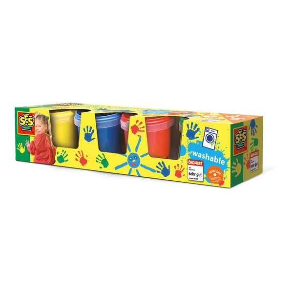 SES Creative - Children's Washable Finger Paints Set Four Paint Pots 3 to 6 Years (Multi-colour)